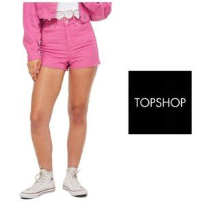 TOPSHOP Pink Denim Mom Shorts Raw Hem Sz 12 NWT